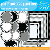 Frames - Dotty Borders & Buttons - Black Gray and White