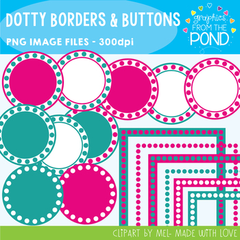 Dotty Borders and Buttons - Pink and Teal Set