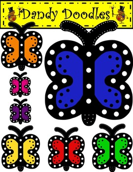 Dotty Butterflies FREEBIE Clip Art by Dandy Doodles