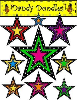 Dotty Double Stars FREEBIE Clip Art by Dandy Doodles
