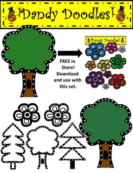 Dotty Trees Clip Art by Dandy Doodles