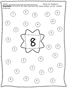 Dotty for Numbers 0-20: A Number Recognition Activity