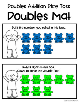 Doubles Addition Math Center Activity-Doubles Addition Dice Toss