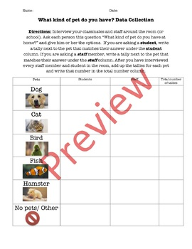 Double Bar Graph, Data Collection & Analysis Questions: What Kind of Pet?
