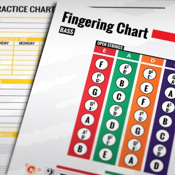 Music: Double Bass Fingering Color Chart w/ Worksheet & Pr