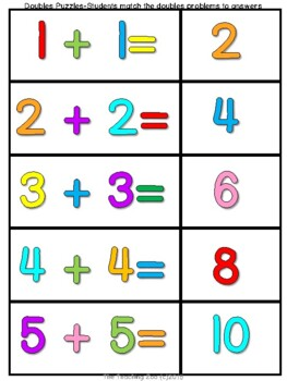 Double Bubble!  Doubles Facts Math Fun Learning Activity Pack