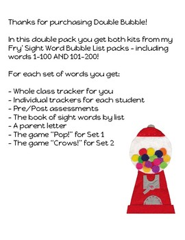 Double Bubble!  Fry's First 200 Sight Words Tracking Pack!