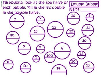 Double Bubble Worksheet-working with doubles
