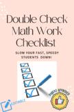 Double Check Math Work Checklist- NO MORE SPEEDING TICKETS