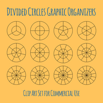Double Circle Divisions Graphic Organizers Clip Art Set for Commercial Use