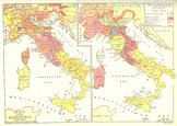 Double Color Map of Italy in the Renaissance and the Unification of Italy