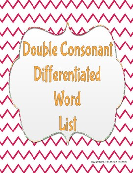 Double Consonant Differentiated Word List
