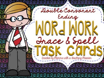 Double Consonant Ending Word Work Trace and Spell Task Cards