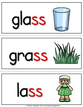 Double Consonant Endings -ll -ss -zz -ff  {63 Illustrated Word Cards}