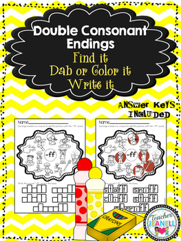 Double Consonant Endings - Find it, Dab or Color it, Write it!