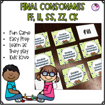 Double Consonant Endings SS, ZZ, LL, FF, CK memory game of REMEMBER