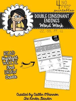 Double Consonant Endings Word Work Printables