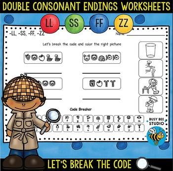 Double Consonant Endings (ff,ll,ss,zz) Worksheets