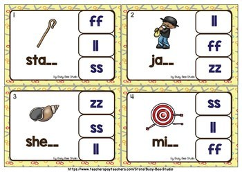 Double Consonant Endings (ll, ff, ss, zz)  Clip Cards
