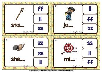 Double Consonant Endings (ll, ff, ss, zz) Clip Cards Free Sampler