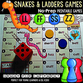 """Double Consonant Endings (ll, ss, ff, zz) Game """"Snakes and Ladders"""""""