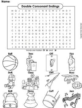 Double Consonant Endings (ll, ss, ff, zz) Word Search/ Coloring Sheet