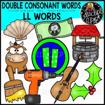 Double Consonant LL Words Clip Art Set {Educlips Clipart}