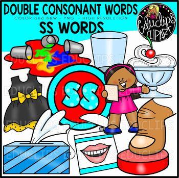 Double Consonant SS Words Clip Art Set {Educlips Clipart}