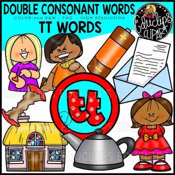 Double Consonant TT Words Clip Art Set {Educlips Clipart}