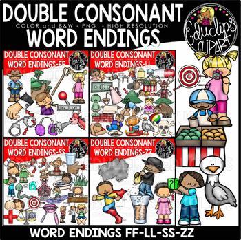 Double Consonant Word Endings Big Bundle {Educlips Clipart}
