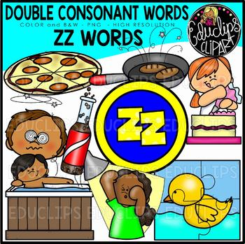 Double Consonant ZZ Words Clip Art Set {Educlips Clipart}