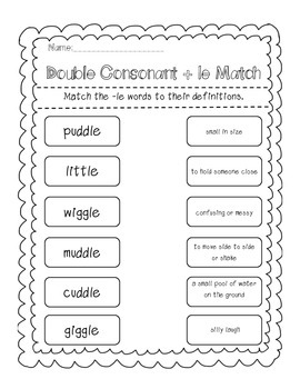 Double Consonant + le Word Work Pack