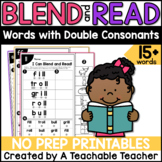 Double Consonant Worksheets   Blending & Reading Words wit