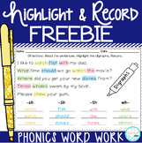 Highlight & Record Phonics Word Work Freebie