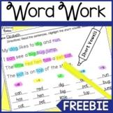 Highlight & Record Phonics Word Work Freebie