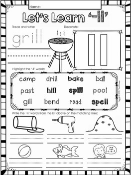 Double Consonants NO PREP Printables (-LL)