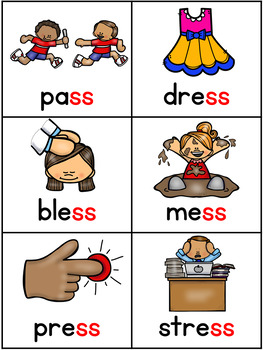 Double Consonants Activities -ff, -ll, -ss and -zz words Pocket Charts