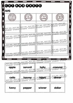 Double Consonants Sorts | Cut and Paste Worksheets