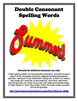 Double Consonants Spelling Basic Word Work Packet