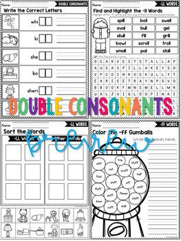 Double Consonants Worksheets | Final Double Consonants Activities