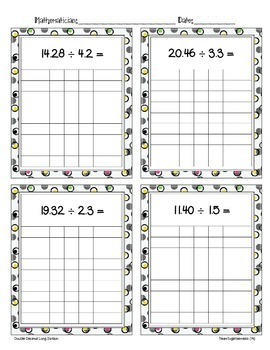Double Decimal Division 2 Task Cards