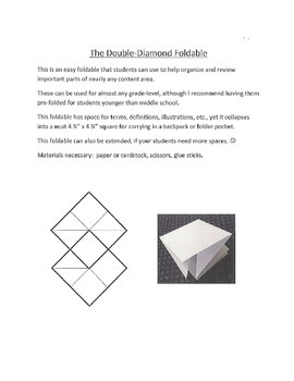 Double Diamond Foldable for All Ages and Content Areas