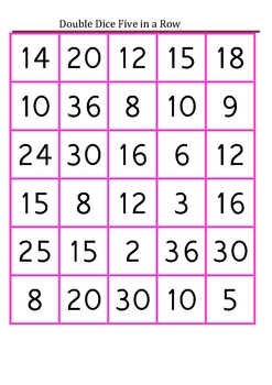 Double Dice Five in a Row-Multiplication