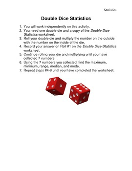 Double Dice Statistics Math Center Game