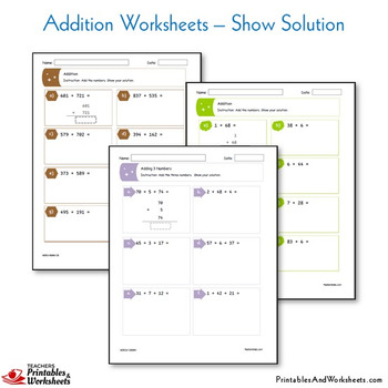 Standard Algorithm Addition Practice Worksheets And Pages With Answer Keys