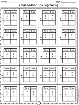 Double Digit Addition Worksheets   Distance Learning
