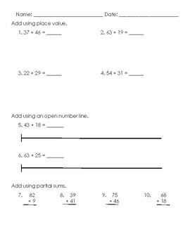 Double Digit Addition Assessment 2