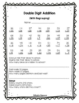 Double Digit Addition Assessment (With Regrouping)