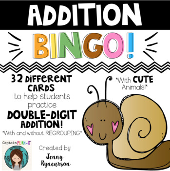 Double-Digit Addition BINGO! 32 Different Cards - With and Without Regrouping!