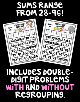 Double-Digit Addition BINGO! 32 Different Cards!